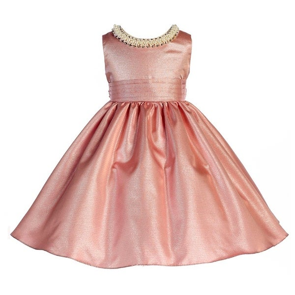 Shop Crayon Kids Little Girls Dusty Rose Glitter Neckline Fit and Flare  Easter Dress 2T-6 - Free Shipping Today - Overstock - 18166997 772dd88377ac