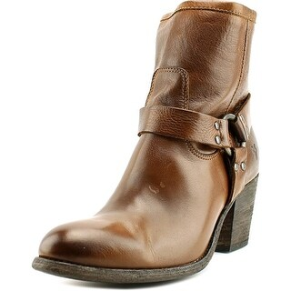 Frye Tabitha Harness Short Women Round Toe Leather Brown Ankle Boot