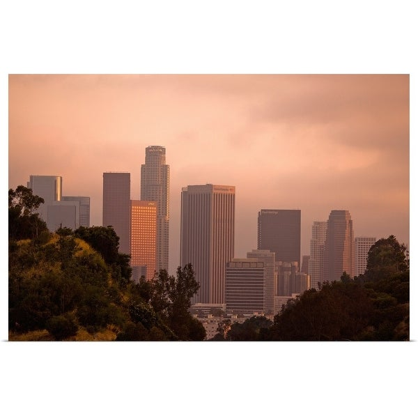 """Unique view of downtown Los Angeles between hills."" Poster Print"