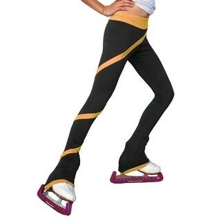 ChloeNoel Black Gold Spiral Ice Skating Pants Girls 6-12 Adult XS-L