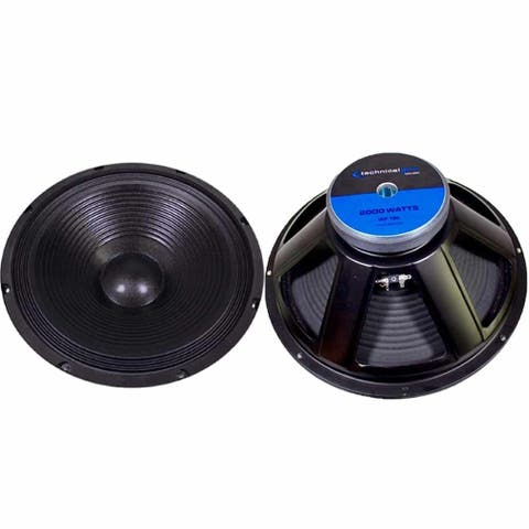 (Pack of 2) Technical Pro 1000W, 18 In Raw Subwoofers/Speakers, PA DJ Pro Audio Replacement Sub, 8 Ohms, 3 Inch ASV Voice Coil