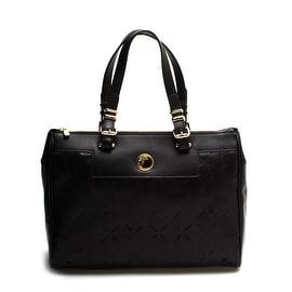 Versace Women Leather Borsa Laser-Cut Tote Handbag Black - S