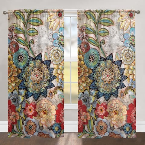 Boho Bouquet 84 Inch Blackout Window Panel