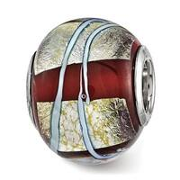 Sterling Silver Reflections Foil Striped Red Glass Bead (4.5mm Diameter Hole)