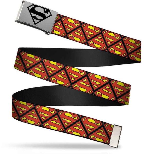 Superman Brushed Silver Black Cam Super Shield Flipped Black Red Web Belt