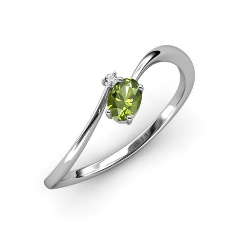 TriJewels Peridot Diamond 1/2 ctw Womens Bypass Promise Rings 14K Gold