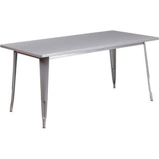 Brimmes Rectangular 31.5u0027u0027 X 63u0027u0027 Silver Metal Table For Indoor/Outdoor