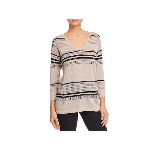 Avec Womens Pullover Sweater Striped Tassel