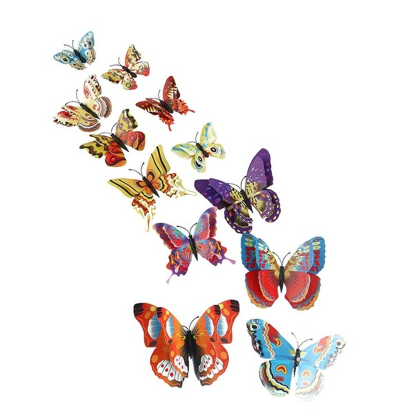 12pcs 3D Butterfly Wall Sticker for Bedroom Decoration Yellow Orange - Yellow, Orange