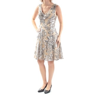 Womens Beige Sleeveless Above The Knee Fit + Flare Prom Dress Size: 6