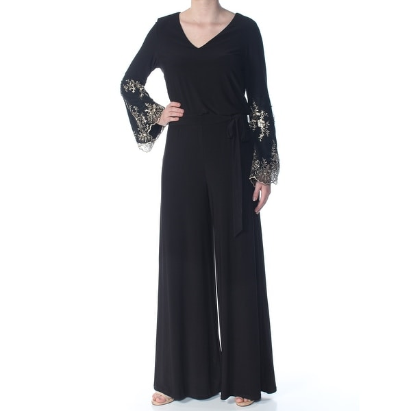 1b8c896f4df46 MSK Womens Black Embroidered Tie Floral Long Sleeve V Neck Wide Leg  Cocktail Jumpsuit Size: XL