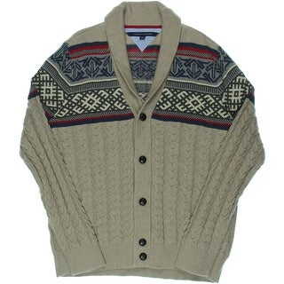 Tommy Hilfiger Mens Fair Isle Shawl Collar Pullover Sweater