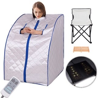 Costway Portable Far Infrared Sauna Spa Full Body Slimming Loss Weight Detox Therapy - Sliver
