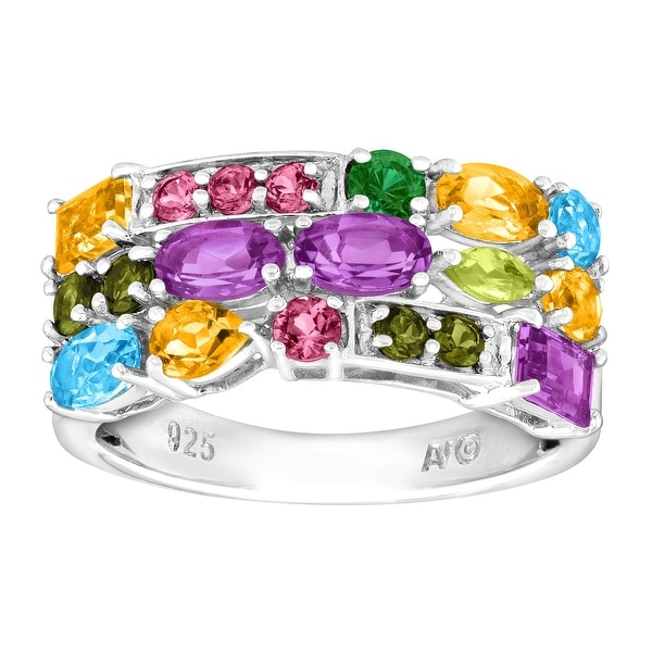 2 3/8 ct Natural Multi Semi-Precious Gem Band Ring in Sterling Silver