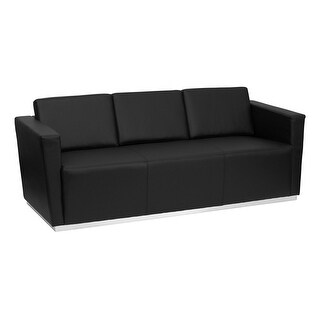 Offex HERCULES Trinity Series Contemporary Black Leather Sofa with Stainless Steel Base [OF-ZB-TRINITY-8094-SOFA-BK-GG]
