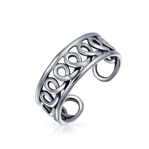 Bali Style Open Infinity Swirl Wire Midi Wide Band Toe Ring 925 Silver Sterling Mid Finger Adjustable