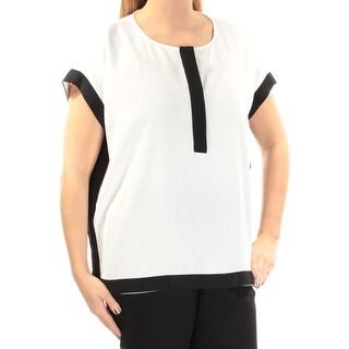 Womens White Cap Sleeve Jewel Neck Tunic Top Size 4