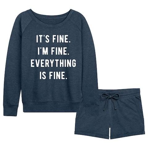 It's Fine I'm Fine Everything Is Fine - Women's French Terry Shorts Set - Heather Indigo