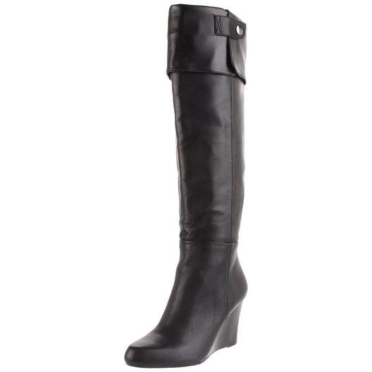 Adrienne Vittadini Womens MAC Almond Toe Knee High Platform Boots