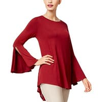 Olivia & Grace Red Women's Size XS Lace Back Bell Sleeve Tunic Top