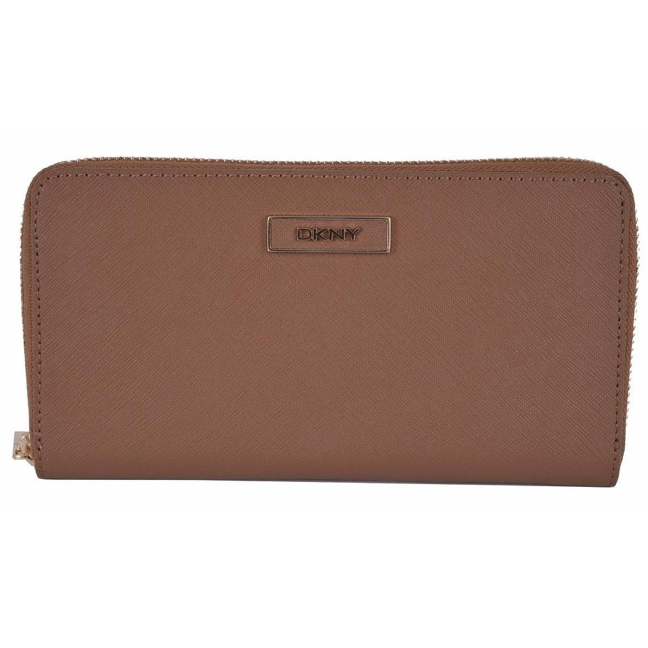 "DKNY Donna Karan Walnut Brown Saffiano Leather Zip Around Wallet Clutch - 7.5"" x 4"" - Thumbnail 0"