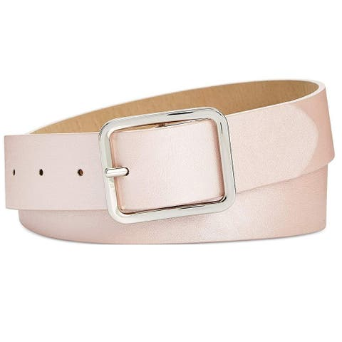INC International Concepts Women's Casual Solid Belt Solid Blush Silver Size Small - Pink