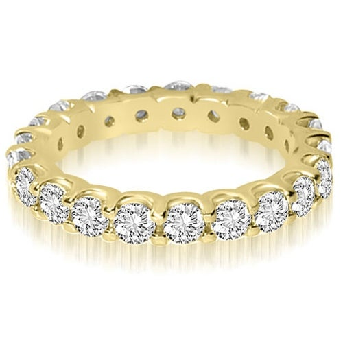 14K Yellow Gold 2.80 cttw. Round Shared Prong Diamond Eternity Ring HI,SI1-2