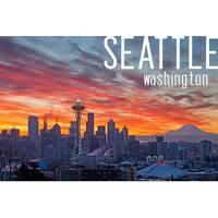Seattle, WA - Rainier & Sunrise - LP Photography (100% Cotton Towel Absorbent)