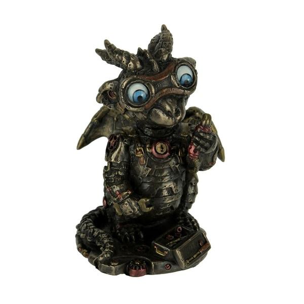 Cast Bronze Steampunk Tinkerer Dragon Figurine Mechanical Builder Sci-Fi Decor - 4.75 X 3.5 X 3 inches