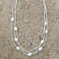Mad Style Ivory Layered Leather & Pearl Choker
