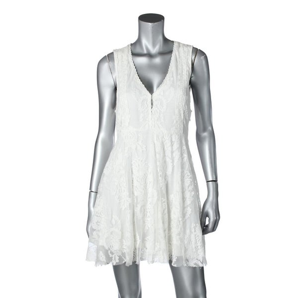 Free People Womens Skater Dress Mesh Embroidered