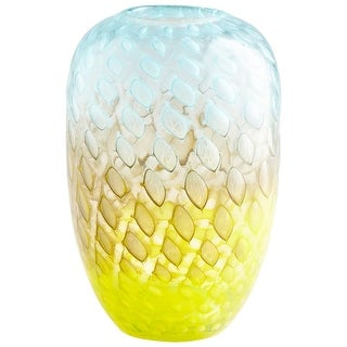 "Cyan Design 09207 Honeycomb 7"" Diameter Glass Vase - yellow / blue - N/A"