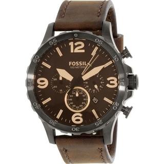 Fossil Men's Nate  Brown Leather Quartz Fashion Watch
