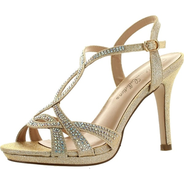 De Blossom Womens Marcie-15 T-Strap Glitzy Bridesmaid Prom Party Dress Pump  Shoes 4627adb9887a