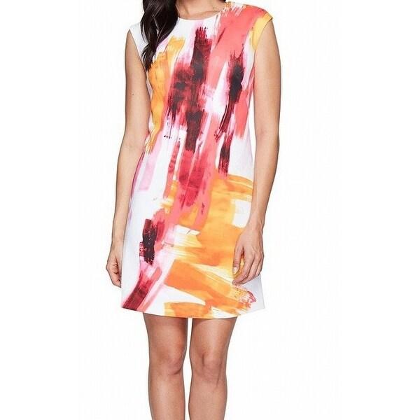 6e0c86538cd5 Calvin Klein NEW White Pink Women Size 6 Watercolor Print Sheath Dress