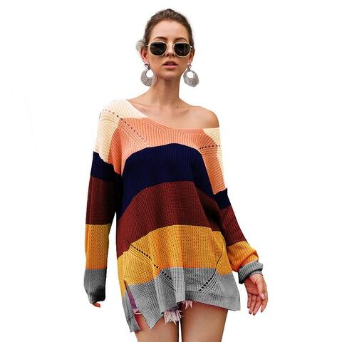 Knitwear Rainbow Colorblock Long Sleeve Pullover Women