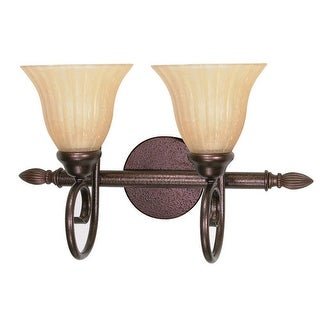 "Nuvo Lighting 60/016 Moulan 2 Light 17.8"" Wide Vanity Light with Champagne Washed Linen Glass Shades - copper bronze"