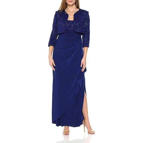 Alex Evenings Women's Dress Blue Size 12 Gown Glitter Jacket Set
