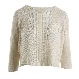 Aqua Womens Crop Sweater Knit Heathered - S
