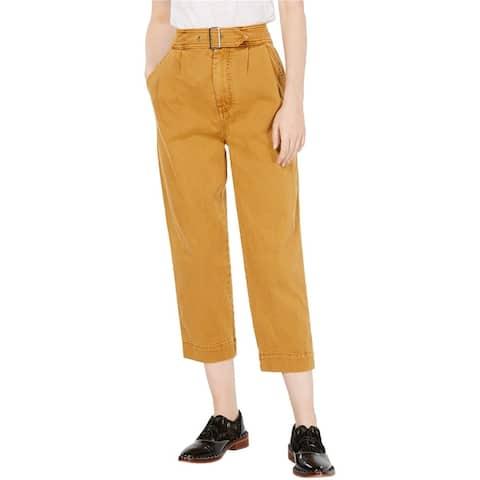 Free People Womens Belt-Waist Casual Cropped Pants
