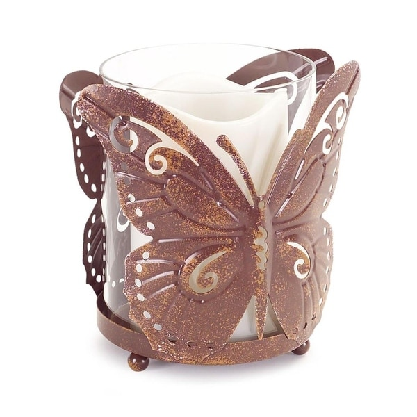 """Set of 4 Decorative Footed Weathered Detail Butterfly Candle Holder 5.5"""" - PInk"""