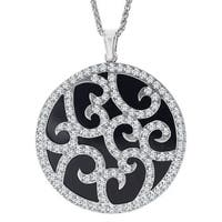 Van Kempen Art Deco Medallion Pendant with Swarovski Crystals in Sterling Silver