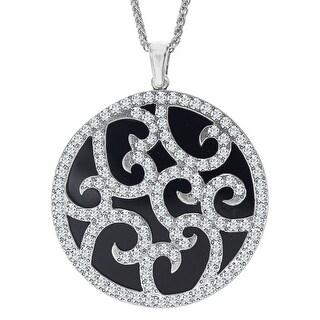 Van Kempen Art Deco Medallion Pendant with Swarovski Crystals in Sterling Silver - White