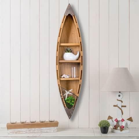 "Glitzhome 41""H Coastal Wooden Boat Wall Shelf"