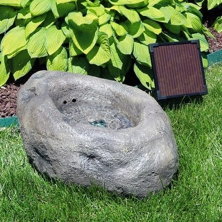 Sunnydaze Stone Pond Solar-on-Demand LED Outdoor Water Fountain - 9-Inch