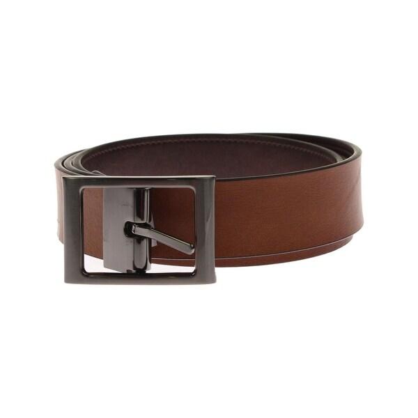 Ryan Seacrest Mens Dress Belt Faux Leather Reversible