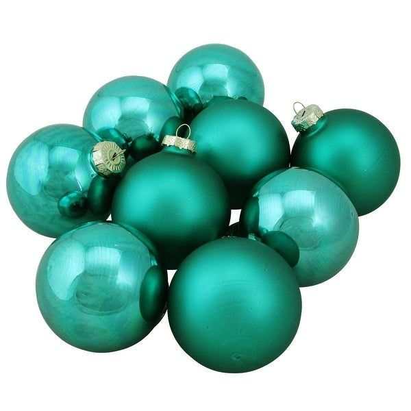 "9-Piece Shiny and Matte Emerald Green Glass Ball Christmas Ornament Set 2.5"" (65mm)"