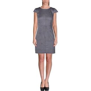 Kensie Womens Cocktail Dress Faux Suede Short Sleeves