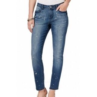 Earl Jean NEW Blue Womens Size 8 Bleach Splatter Slim Skinny Jeans
