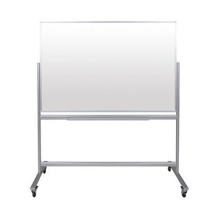 """OF-MMGB6040 - Offex 60""""W x 40""""H Double-Sided Mobile Magnetic Glass Marker Board"""